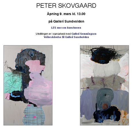 Post image for Åpning 9. mars kl. 13.00  PETER SKOVGAARD på Galleri Sundvolden